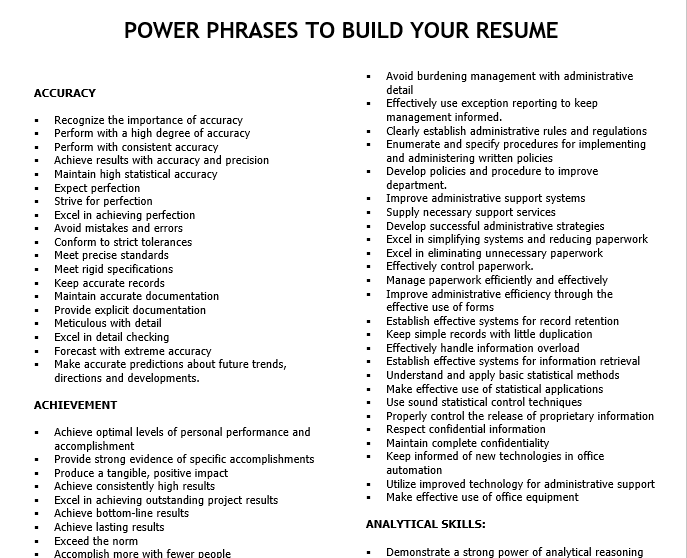power phrases to build your resume - hci